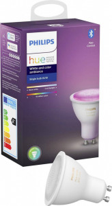 Bec inteligent LED RGBW Philips HUE, Bluetooth/Wireless, GU10, 5.7W, 350 lm, A+, lumina alba/color