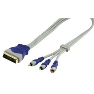 Cablu video scart - 3 RCA tata, 2.5m, HQ