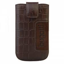 Husa universala telefon, piele naturala, maro, 122 x 73mm, Bugatti