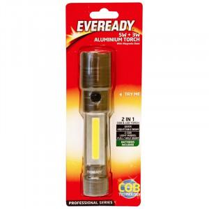 Lanterna LED COB , 2 in 1 , 5w + 3W, aluminiu, profesionala , Eveready