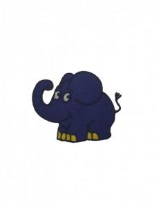Petic textil, patch brodat , 75 x 60mm, elefant albastru, Wenco