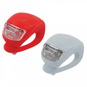 Set 2 lanterne LED, bicicleta, fata-spate, silicon, Silverline