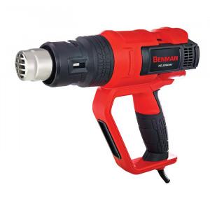 Pistol aer cald profesional, putere variabila, 50 - 600 grade, 2000W, control precis avansat temperatura, trusa, Benman