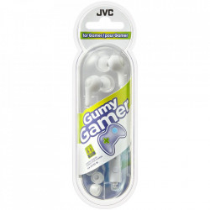 Casti audio In-ear jocuri, 1m, comutator microfon, alb, JVC Gumy