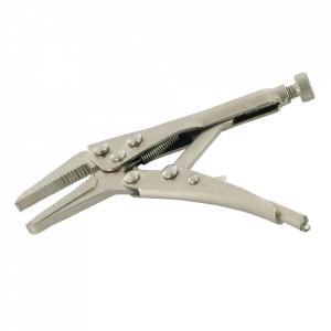 Cleste autoblocant mini, cioc lung, otel nichel, 125mm, Silverline