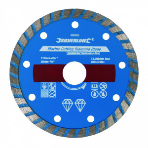 Disc diamantat pentru taiat piatra , marmura , 110 x 20mm , Silverline Marble Cutting Diamond Blade