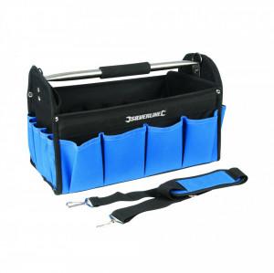 Geanta , trusa de scule cu pereti intariti , bara transport , 400 x 200 x 255mm , Silverline Tool Bag Open Tote