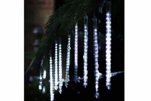 Instalatie de Craciun, 120 LED, 10 turturi, lumina alba, tub 21cm, acoperire 4m, temporizare, Melinera