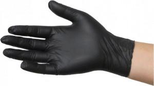 Manusi protectie maini , unica folosinta, 100 bucati, nitril, rezistente rupere, fara pudra, negre, marimea L, Silverline