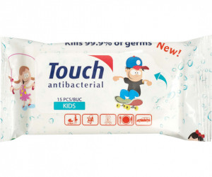 Mini servetele umede antibacterian , 15 servetele, Touch Kids
