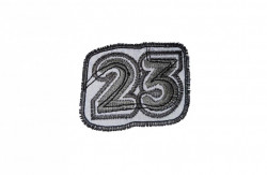 Petic textil, patch brodat , 62 x 50mm, cifra 23, Wenco
