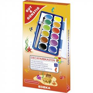 Set 12 acuarele, culori detasabile, tub alb, pensula, Edeka