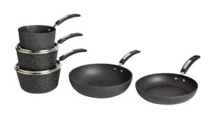 Set 5 piese gatit, neverstick, 3 cratite, 2 tigai, aluminiu ardezie piatra, Scoville