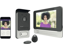 "Video interfon inteligent, wi-fi, carduri RFID acces, ecran 7"" LCD, conectare mobil, Philips"