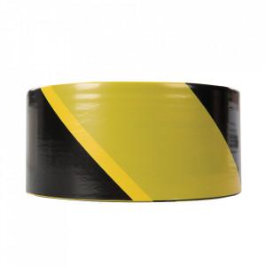 Banda de siguranta, semnalizare perimetru, 70mm x 500m, negru/galben, Fixman