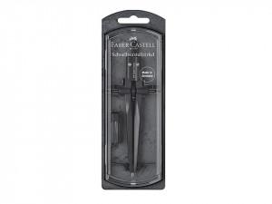 Compas profesional, 175mm, cui/creion, negru, Faber Castell
