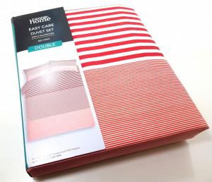 Lenjerie pentru pat de 2 persoane , George Home Red Stripe
