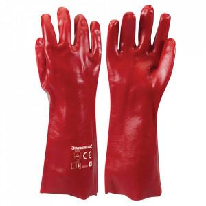 Manusi lungi industriale, set 2 bucati, PVC gros, armatura textila, 39 cm, L, rosu ,Silverline