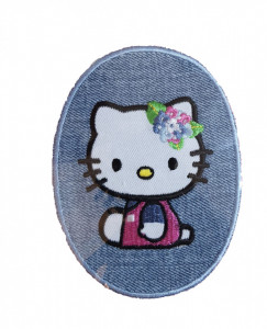 Petic textil, patch brodat , 110 x 82mm, Hello Kitty, Sanrio