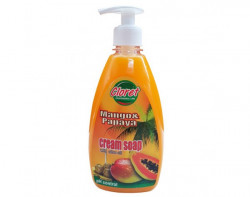 Sapun lichid, 500ml cu dispenser manual, Mango & Papaya - cream soap, extract ulei masline, PH - control, Cloret