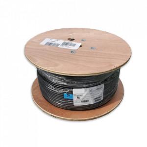 Cablu coaxial profesional, dublu ecranat, folie aluminiu, 152m, 500FT, RG6, 18AWG, 75C, negru, GEPCO