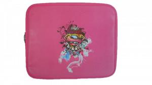 "Husa termica laptop, notebook, 15.4"", 400 x 300 x27mm, roz, Supergirl, Zappa"