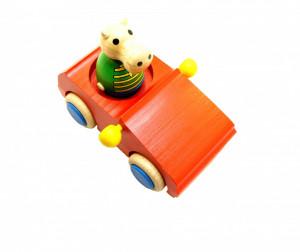 Jucarie masinuta + figurina din lemn natural , Mixmax