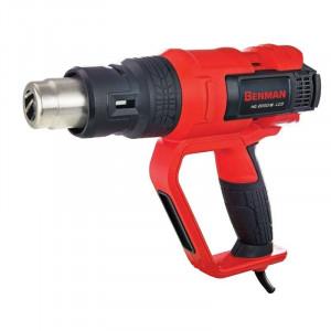 Pistol aer cald profesional, putere variabila, 50 - 600 grade, 2000W, control precis avansat temperatura, trusa, afisaj lcd, Benman