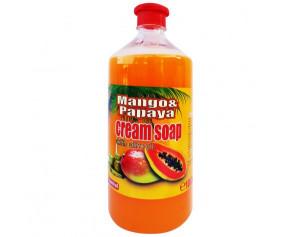 Sapun lichid, rezerva 1000ml, capac cu picurator, Mango & Papaya - cream soap, extract ulei masline, PH - control, Cloret