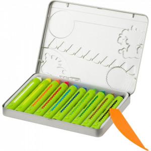 Set 11 piese creioane cerate cu filet ,10 culori, cutie metalica, Jolly