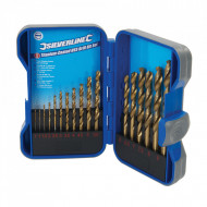 Set 17 burghie lemn, metal, 1 - 9mm, placat titan HSS, Silverline