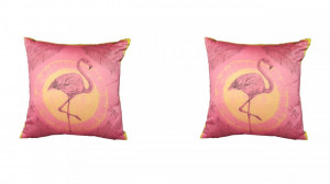 Set 2 perne decorative premium, mini 30x 30 cm, flamingo, George Home