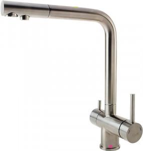 Baterie bucatarie 3 cai pentru filtru de apa comanda multipla cartus ceramic 35mm inox 304 ,satinat, Fabiano
