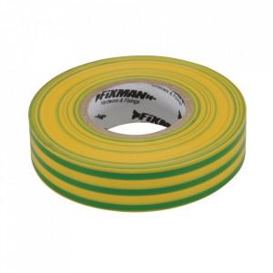 Banda izolatoare, latime 19mm, lungime 33m, galben / verde, Fixman