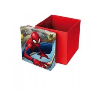 Cutie depozitare cu capac, taburet 85Kg, Spiderman, 2 in 1, 30x30x30 cm, Marvel