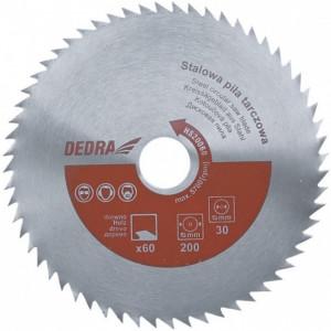 Disc circular pentru taiat lemn , 200mm x 60T x 30mm , otel , Dedra