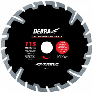 Disc diamantat TURBO S , 115 x 22.2mm , taie caramida , piatra , beton , Dedra