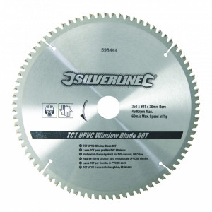Disc , panza circular , aluiminiu TCT UPVC Window Blade 80T , 250 x 30 - 25, 20, 16mm , Silverline