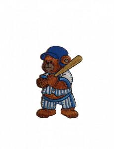 Petic textil, patch brodat , 80 x 50mm, urs baseball, Wenco