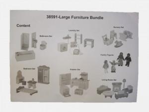 Set 43 piese mobilier casa papusi, figurine lemn, George Home
