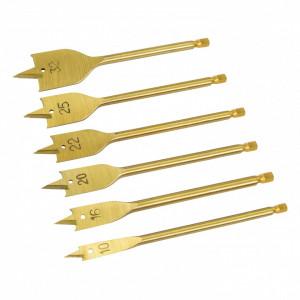 Set de burghie pentru lemn 6 piese , placate cu titan , 10-32mm , Silverline Titanium-Coated Flat Bit Set 6pce