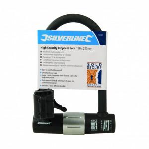 Sistem antifurt bicicleta profesional, 180x245mm, 2 chei, aprobat sold secure, U-lock, Silverline