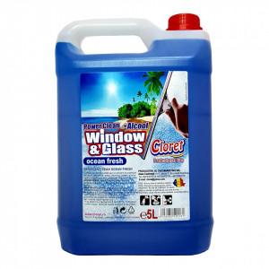 Solutie curatat geamuri, sticla, cu alcool, Ocean Fresh, 5L, Cloret