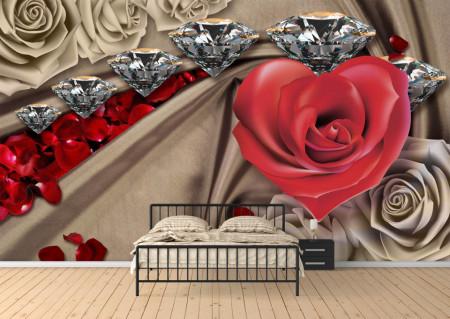Fototapet 3D, O inimă roz