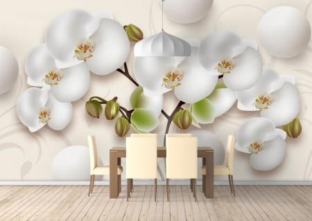Fototapet 3D, O orhidee delicată și sfere albe