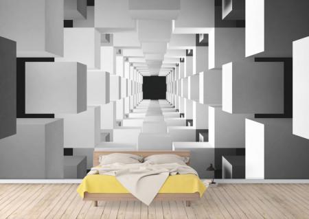 Fototapet 3D, Tunel in culori alb-negru