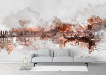 Fototapet Abstract, Călătorie cu barca în largul mării