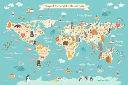 Fototapet Harta si Steaguri, Harta politică a copiilor a lumii 2