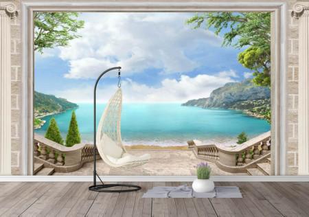 Fototapet, O fereastră deschisă cu Priveliște la mare