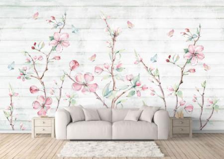 Fototapet, Un fundal abstract cu flori delicate